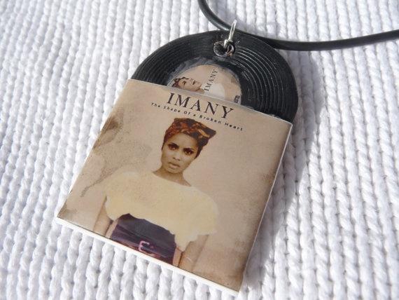 Imany vinyl record miniature charm on black by andreachalari, $13.00