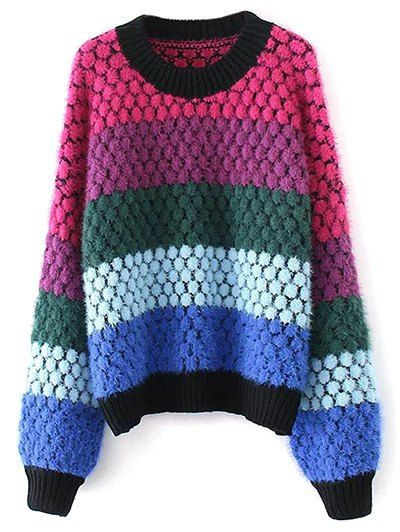 SHARE & Get it FREE   Color Block Fuzzy Oversized SweaterFor Fashion Lovers only:80,000+ Items • New Arrivals Daily Join Zaful: Get YOUR $50 NOW!