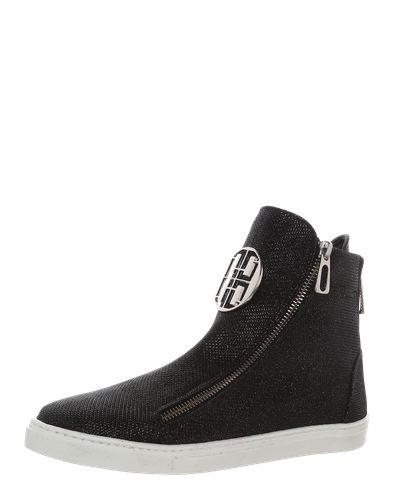 #The #NO #ANIMAL #Brand #Damen #Hohe #Sneaker mit #Zippern #schwarz Diese hohen Sneakern der Marke The NO ANIMAL Brand fallen auf! Durch eine große Logoapplikation auf der Vorderseite und Zipperdetails bekommt der Schuh einen extravaganten Style.