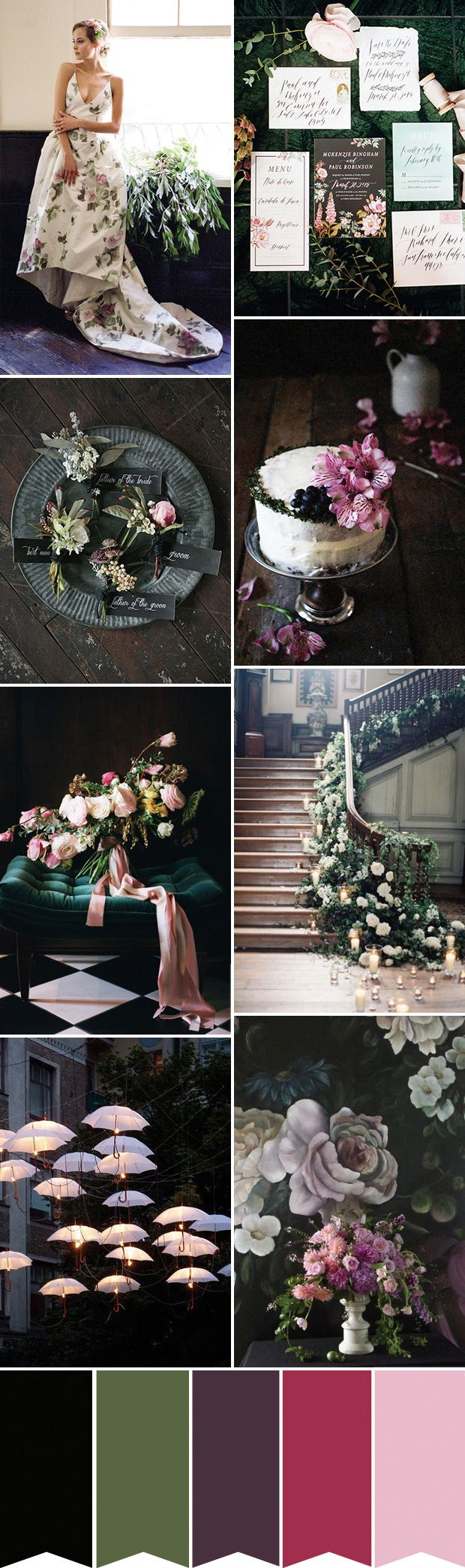 Daring and Dark Botanical Wedding Inspiration for dark wedding colour themes.