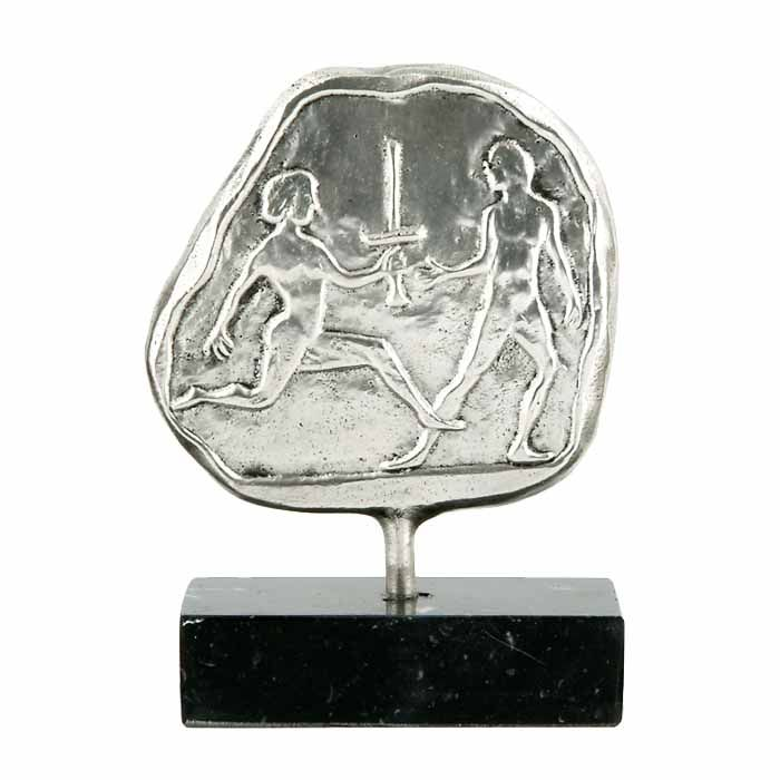 Torch relay, sport of the ancient Olympic Games. The design is inspired by representations of the sport in ancient vases. Dimensions 7cm x 10cm x 3,5cm Silver-plated plaque, mounted on greek black marble base.