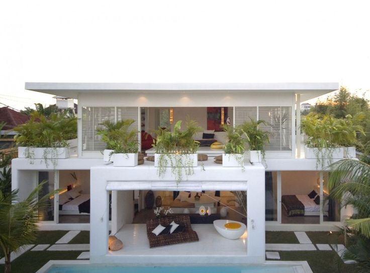 Architecture Fabulous Contemporary Duplex House Design With Patio Beside Outdoor Pool With Lush Vegetations Set
