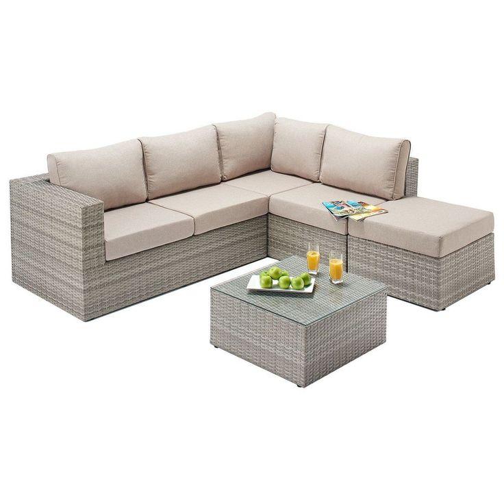 5 Seater Garden Rattan Corner Sofa Set Beige Aluminum Frame Outdoor Furniture