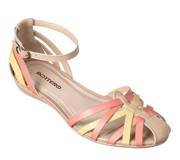 Sandália rasteira com tiras   Sandálias   Calçados Bottero