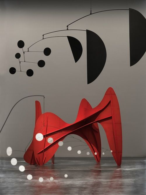 "Alexander Calder: Calder created his first moving abstract sculptures or ""mobiles"" in the early 1930s. Using an ingenious system of weights and counterbalances, he eventually designed constructions that moved freely when suspended, powered only by slight air currents."