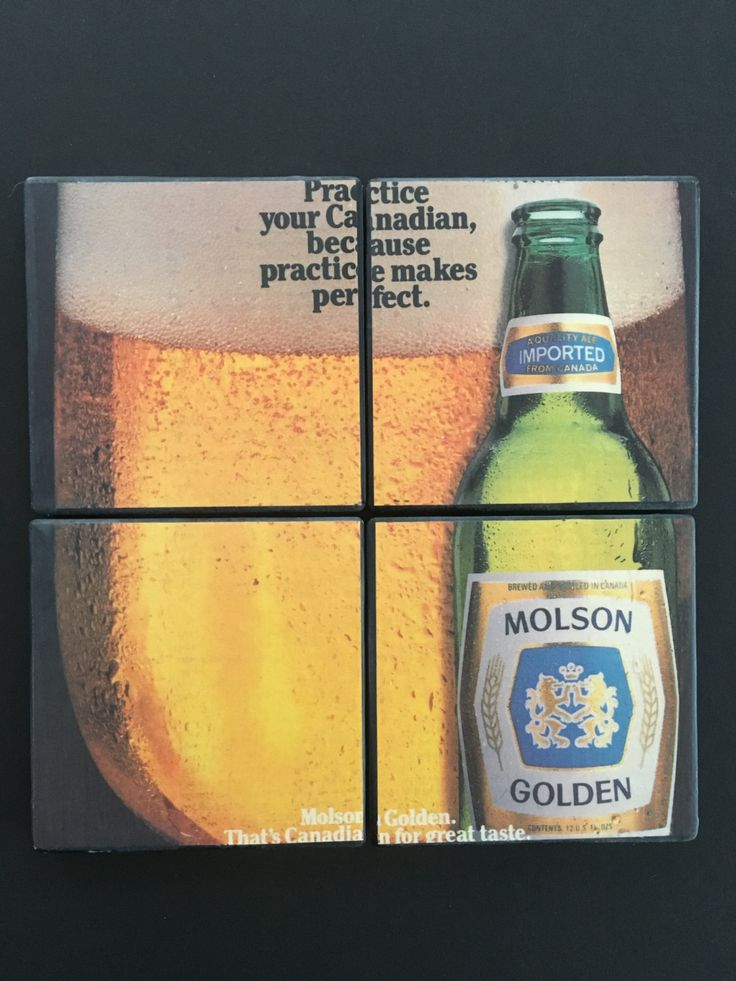 Set of 4 Ceramic Hot and Cold Drink Beverage Coasters with Felt Backing featuring Vintage MOLSON GOLDEN BEER Ad Advertisement from 1983 by UpcyclingIt on Etsy