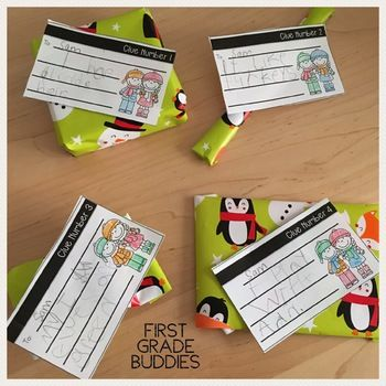 """Your kindergarten, first, and second grade students will enjoy this fun holiday activity. Spread kindness and cheer in your classroom before winter break. Grab this holiday freebie! Students will pick a """"Secret Winter Pal"""" in their class and give them small, handmade gifts for four days. Each present has a clue! On the last day, celebrate by letting students guess who their Winter Pal is! {Seasonal, Christmas, Chanukah, Kwanzaa, 1st, 2nd graders}"""