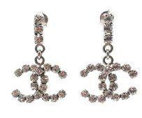 Chanel Chanel Silver Bar Rocky CC Dangle Piercing Earrings