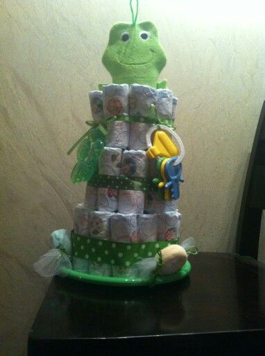 Jord and I trying our hand at diaper cakes.  This one is $40.00. Sold