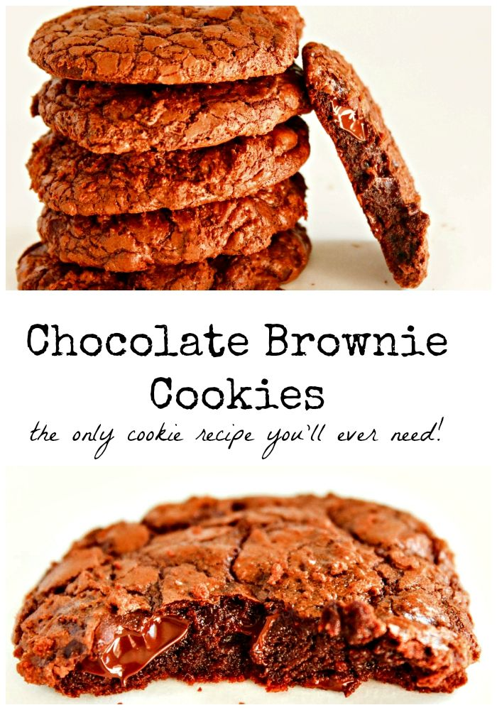 These Chocolate Brownie Cookies are a perfect cross between fudgy brownie and chewy chocolate chip cookie. This is the only cookie recipe you'll ever need.