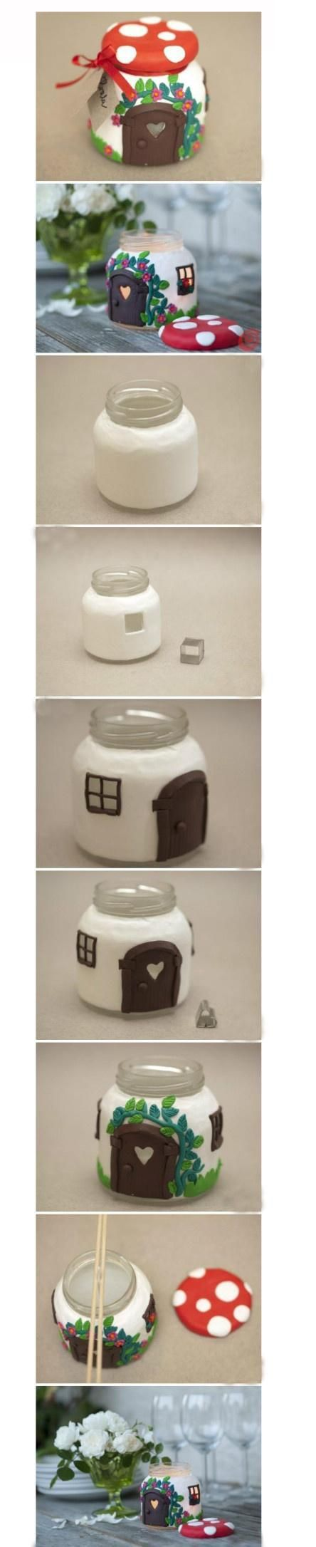 废旧的玻璃瓶可以这样设计哦。diy - mushroom house from a jar! Cute for a candle holder.