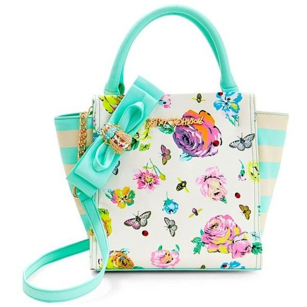 Betsey Johnson Floral Bug A Boo North South Tote ($118) ❤ liked on Polyvore featuring bags, handbags, tote bags, floral, handbag tote, floral handbags, bow purse, floral purse and betsey johnson purses