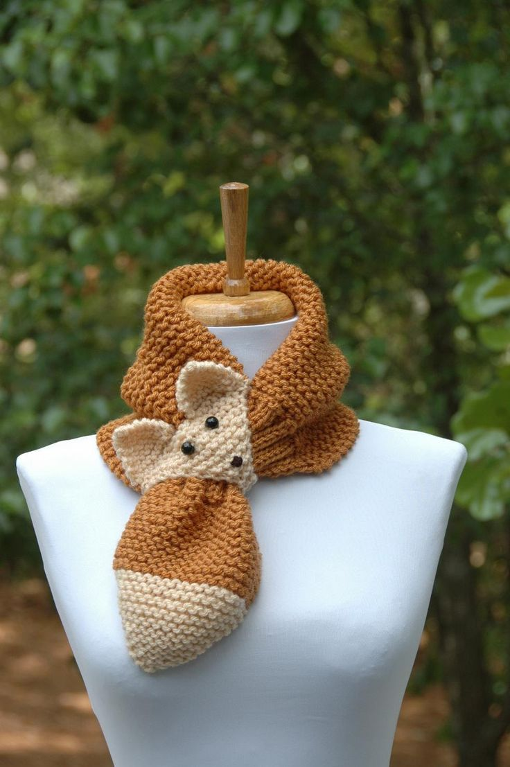 Golden Brown Knit Fox Scarf - Novelty Animal Keyhole Scarf - Original Design 972a8dc39e6