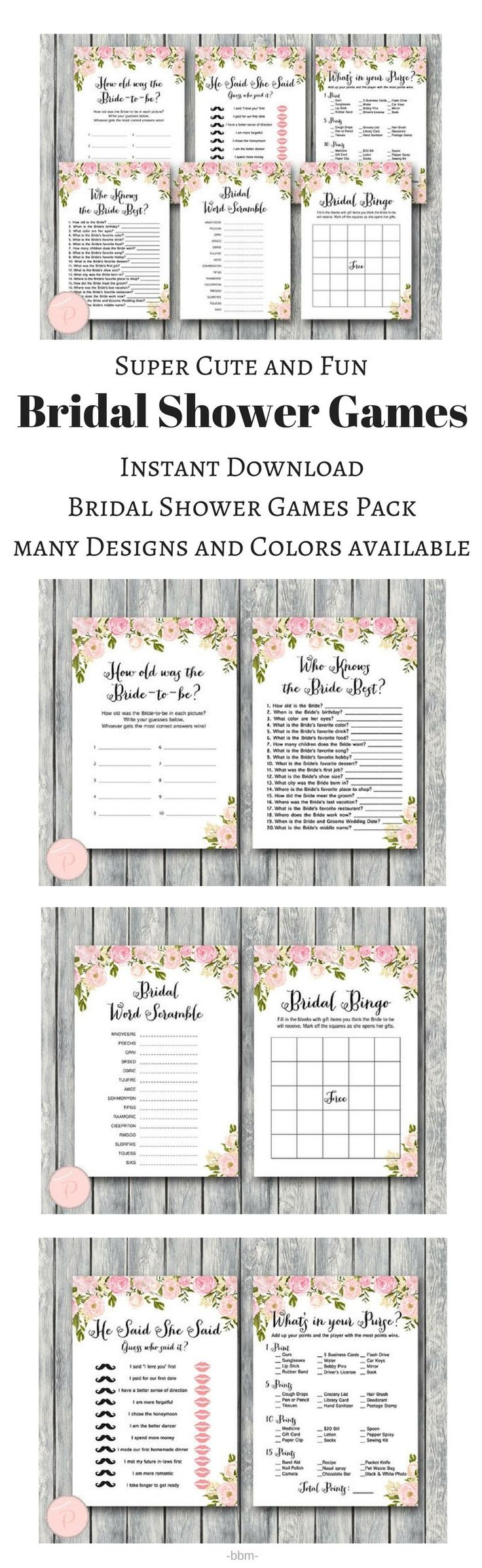 Super Cute Bridal Shower Games Pack! found it on Etsy, it is an instant download and she has sooo many designs to choose from, love it! #bachelorette #bridalshower #bridalparty #bridesmaids #maidofhonor #bridesmaisgift #maidofhonorgift #bacheloretteparty #bridetobe #weddingpreparation #weddingplanning #ad #bbmaff #printable #instantdownload #partygames #loveit