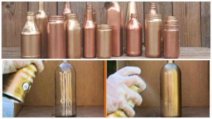 Centros de mesa hechos en casa, económicos y súper cancheros. Botellas, frascos y recipientes de vidrio pintados a mano!