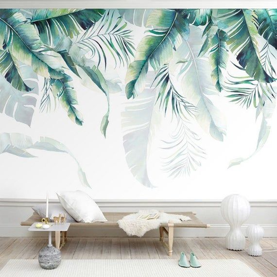 Watercolor Hand Painted Hanging Tropical Leaves Wallpaper Wall Mural, Banana Leaves Palm Leaves Wall Mural, Tropical Leaves Leaf Wall Mural