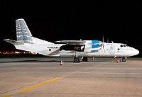 RAF-Avia Antonov An-26B YL-RAA aircraft, parked at Slovakia Bratislava M.R.Stefanik International Airport. 25/09/2012.