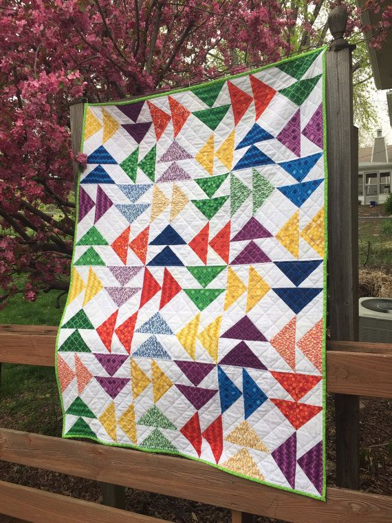 Geometric Quilt in Rainbow Colors Colorful by PeggyGaylerDesigns