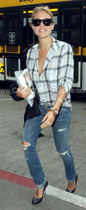 plaid shirt, ripped skinny jeans & heels
