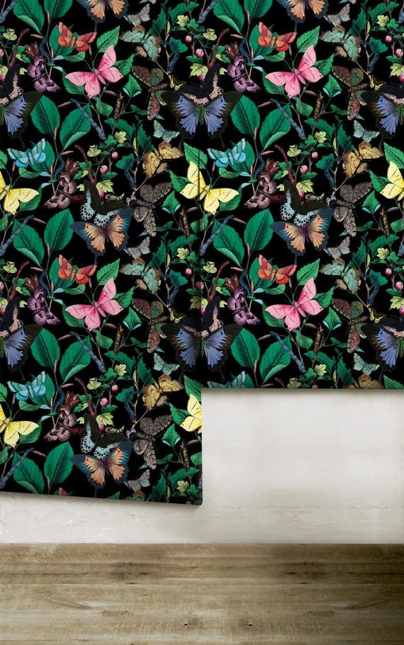 Butterfly Garden Peel N Stick Or Prepasted Wallpaper Vinyl Free Non Toxic Couple Wallpaper Prepasted Wallpaper Butterfly Garden