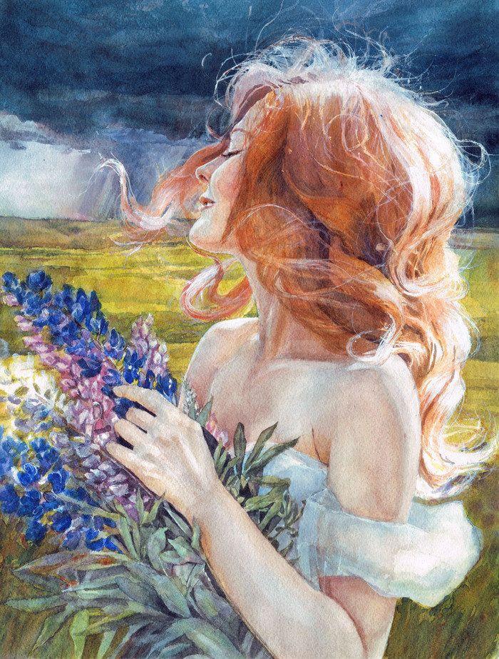 если красивые картинки нарисованные акварелью женщины брюнетка следила собой