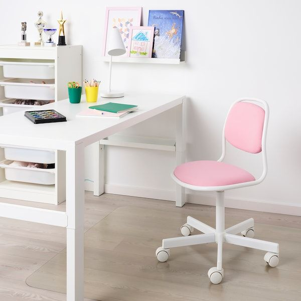 Orfjall Child S Desk Chair White Vissle Pink Ikea Childrens Desk And Chair Kids Desk Chair Childrens Desk