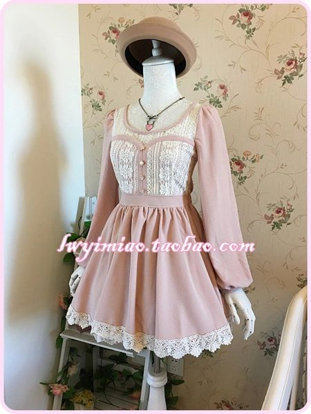 LIZ LISA new rabbit ears bow flounced chiffon lace stitching thick long-sleeved waist dress