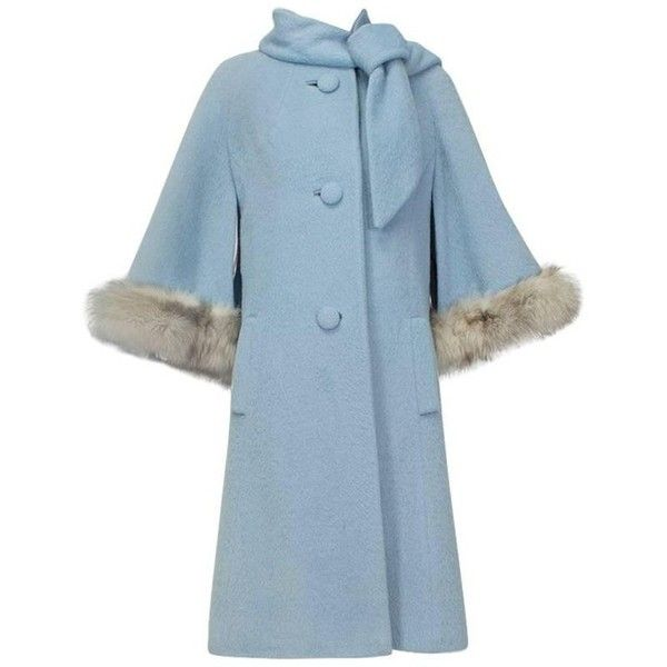 Preowned Powdery Lilli Ann Paris Fox Trim Ulster Swing Coat, 1950s ($600) ❤ liked on Polyvore featuring outerwear, coats, blue, ulster coats, fur trimmed cape, animal fur coats, fur cape, fox coat and fox fur coat