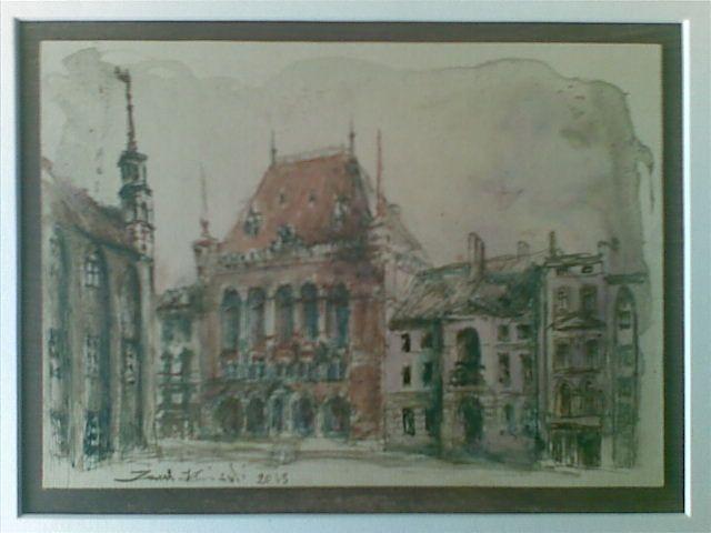 Toruń - Dwór Artusa - tusz lawowany kolorowy