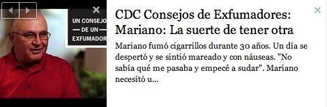"""""""No sabía qué me pasaba y empecé a sudar."""" Mariano fumó cigarrillos durante 30 años, por lo que necesitó una operación de corazón abierto para salvar su vida. Comparta este vídeo con un fumador que usted conozca.""""  https://www.youtube.com/watch?v=hGzB1XCX43g"""