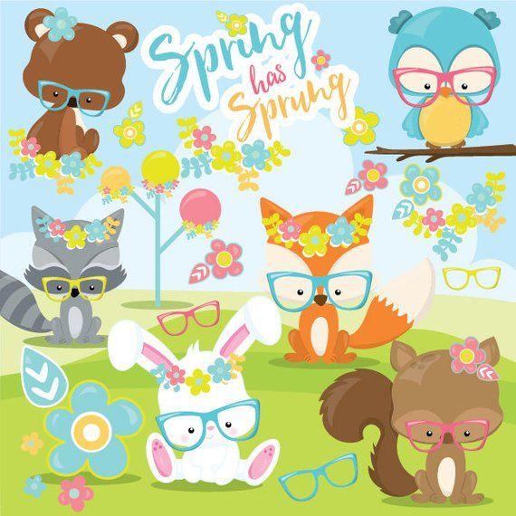 Spring Animals Clipart Commercial Use Spring Clipart Vector Graphics Fox Digital Clip Art Woodlan Animal Clipart Spring Clipart Spring Animals