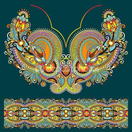 diseño de moda escote adornado bordado floral de paisley, ukrain — Ilustración de stock #55062223