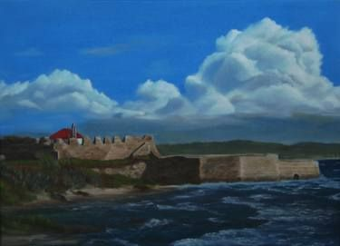 "Saatchi Art Artist ΑγγελικΗ  Aggeliki; Painting, ""Pantokrator's Castle"" #art Oil on Canvas.  Size: 40 H x 55 W x 1.5 cm  The castle of Pantokrator is one of the 3 castles in Preveza (Greece), It is located at the south end of the old city, near the beach of Kyani Akti."