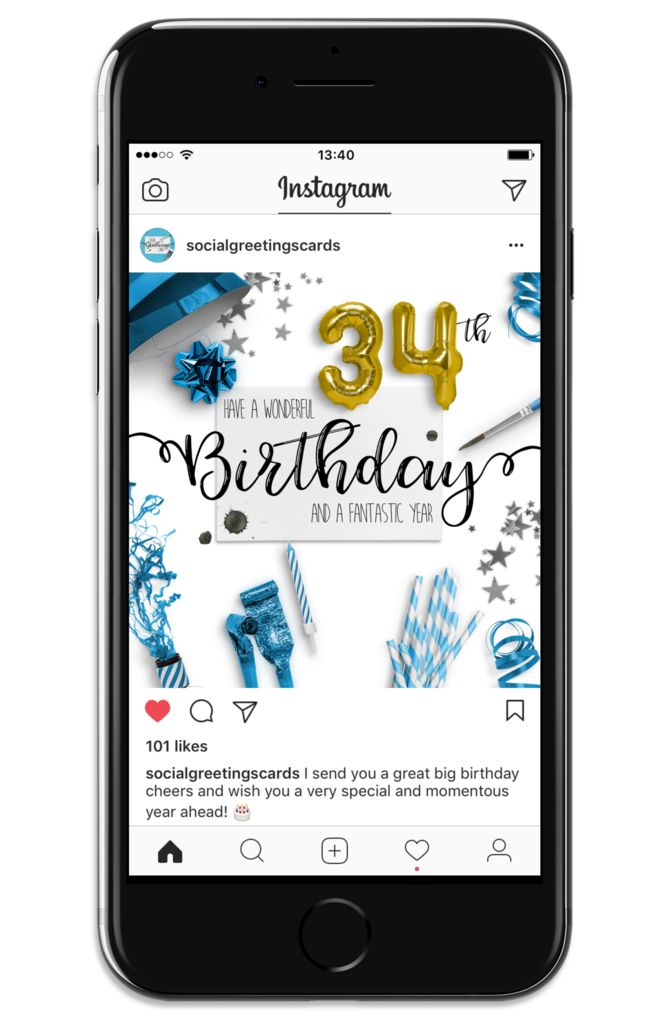 The 8 best 34th birthday social greetings cards images on pinterest 34th birthday card blue social greetings cards m4hsunfo