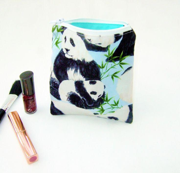 Small cosmetic bag, make up bag, handbag tidy, cute panda fabric, hearing aid bag, kawaii harajuku style bag, animal lover gift, makeup tote