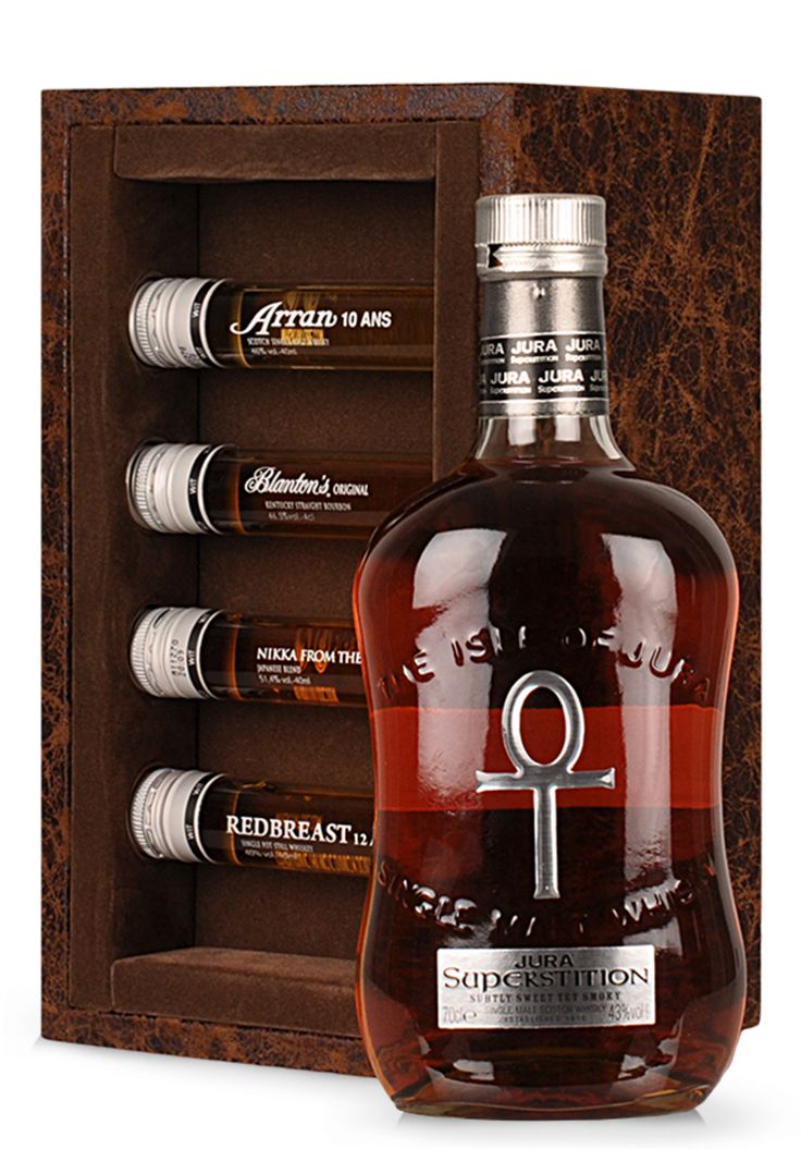 Whisky Isle of Jura, Superstition Coffret, Single Malt Scotch Whisky (0.7L + 4x0.4L) - SmartDrinks.ro