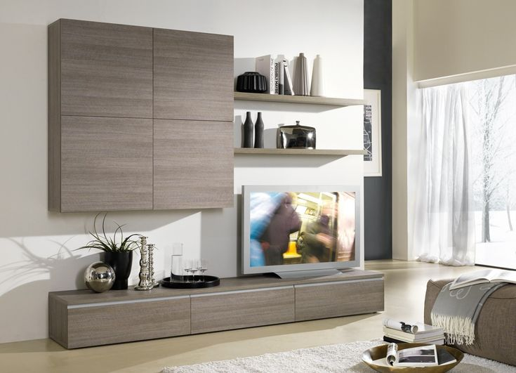 Ensemble tv mural design coloris m l ze gris tiago http for Deco meuble srl