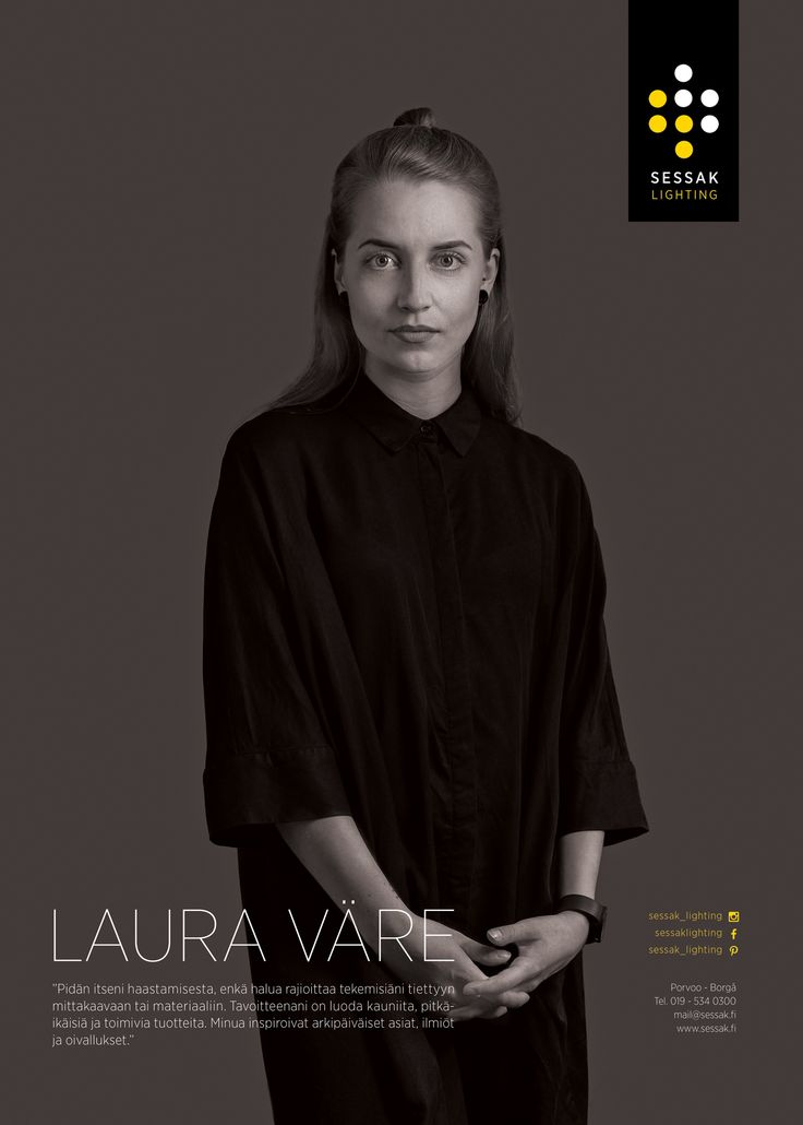 "Our designer Laura väre. Laura describes herself: ""I love to challange myself. I do not want to limit myself to specific dimensions or material. My only goals is to create beautiful, durable, and above all functional products. I am inspired of everyday things, phenomenas and ideas."""
