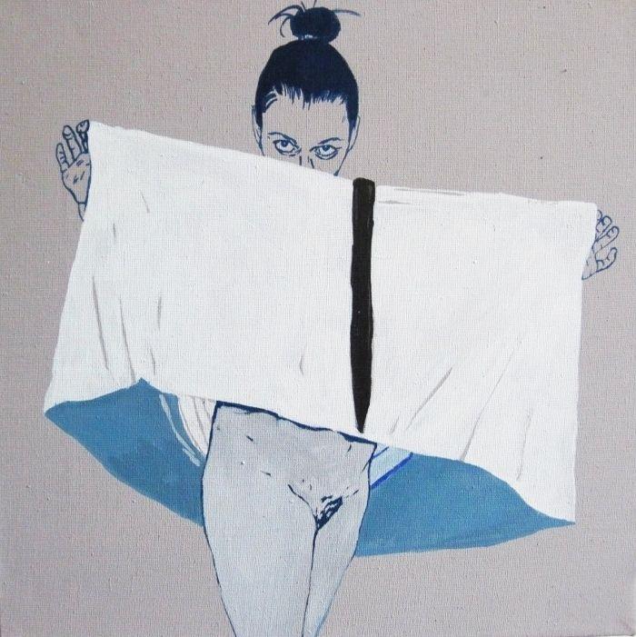 "Agnieszka Sandomierz, ""No title"", distemper on canvas, polish art."