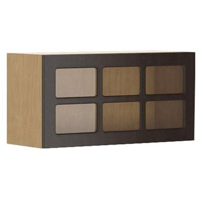 Eurostyle 30x15x12.5 in. Bern Wall Bridge Cabinet with Horizontal Hinge in Maple Melamine and Glass Door in Dark Brown-WG3015HZ.M.BERNE at The Home Depot
