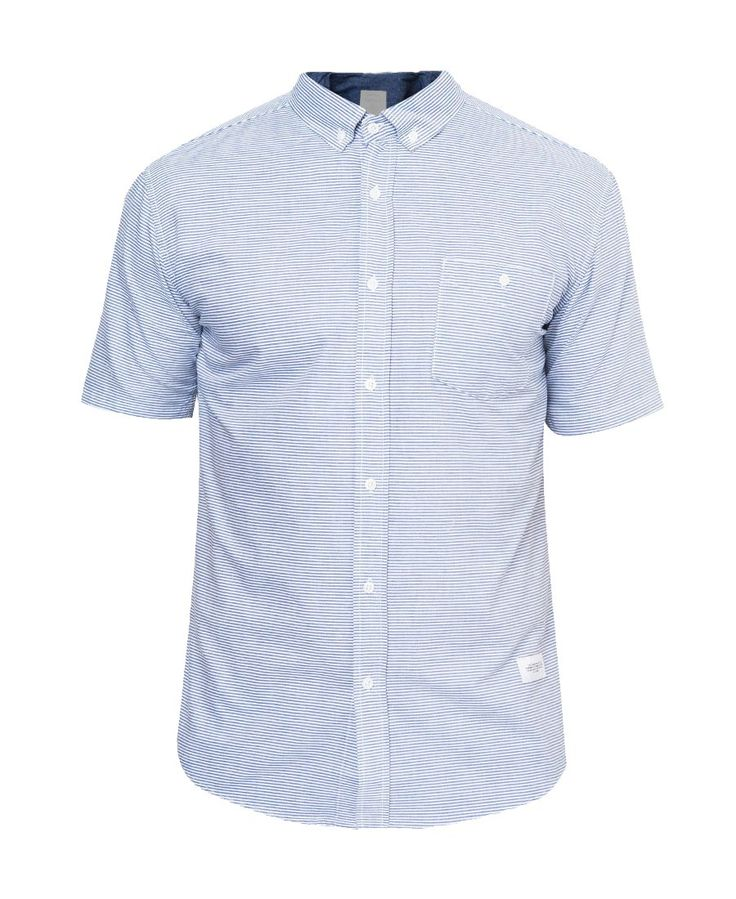 Thrive Shirts by Warning Clothing. Shirt with stripes pattern that made from cotton, with light blue color, short sleeves, a cool shirt for casual or formal outfit, for a formal occasion just wear it with blazer, and wingtip shoes.%0A%0A http://www.zocko.com/z/JG0jk