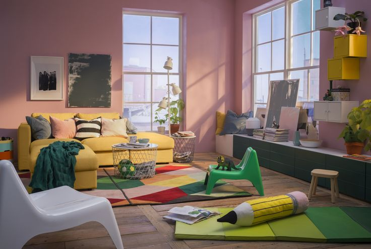 VIMLE 3-zitsbank | IKEA IKEAnl IKEAnederland bank zitbank sofa geel hip trendy trend meubel meubelen meubels kamer woonkamer inspiratie wooninspiratie interieur wooninterieur roze kleuren vrolijk fleurig