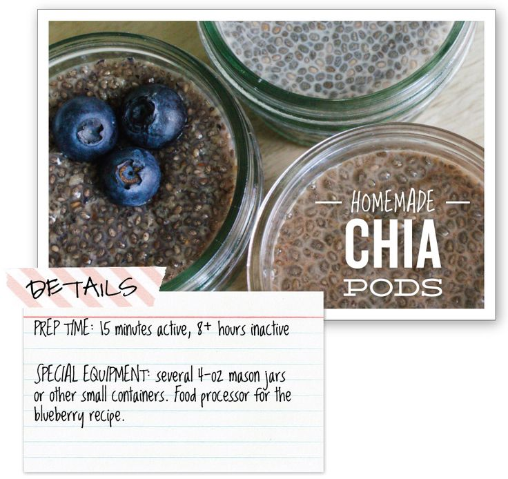Homemade Chia Pods - tastes even better when you substitute in coconut milk. I used bananas instead of blueberries and it was amazing  1 can full fat coconut milk 1/3 cup chia seeds 1 mashed banana  1 tbsp honey