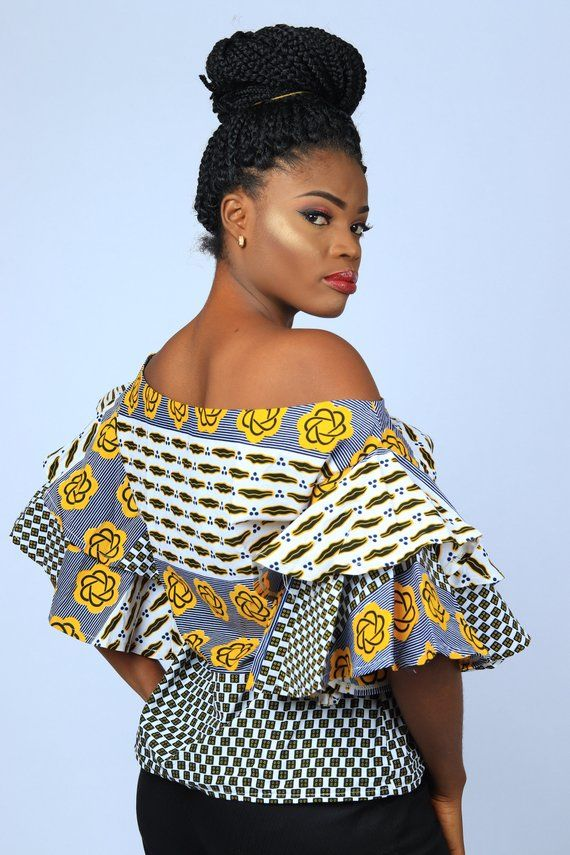 African Inspired Double Flare Ankara Sleeve Blouse for Women