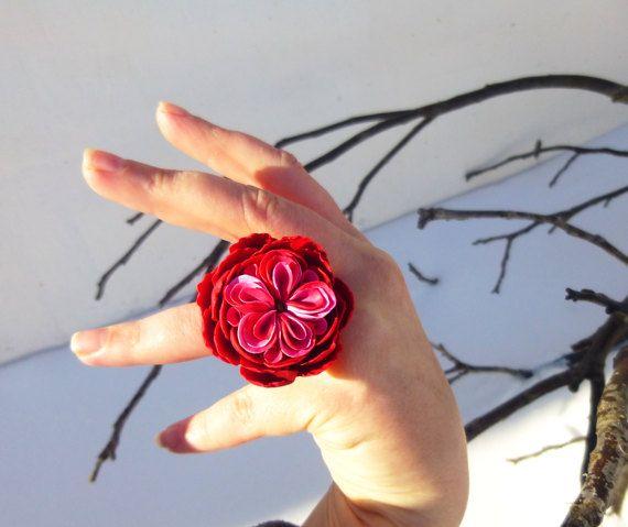 Flower ring Big ring Red ring Pink ring Large red ring Large ring Cute ring Polymer clay 925 sterling silver