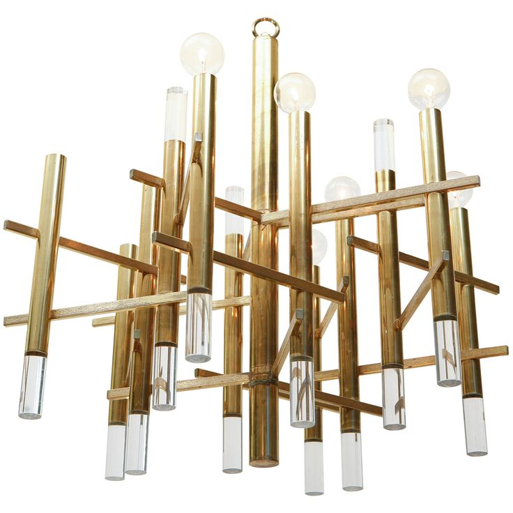 Sciolari Brass and Lucite Chandelier   From a unique collection of antique and…