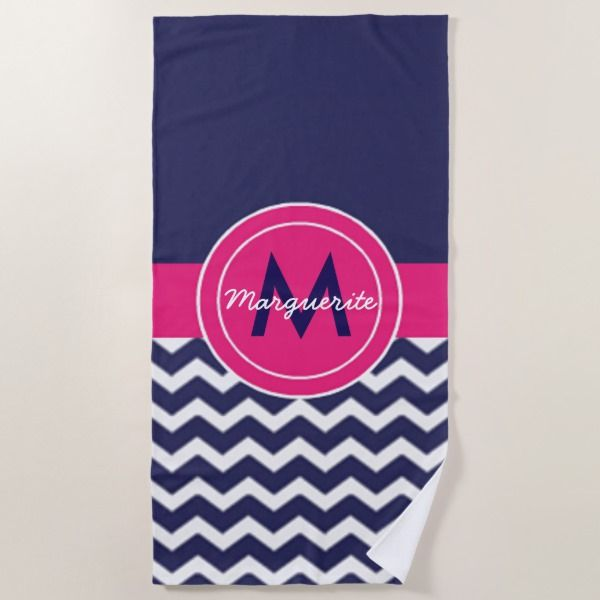 Dark Blue Pink Chevron Beach Towel Zazzle Com Chevron Beach