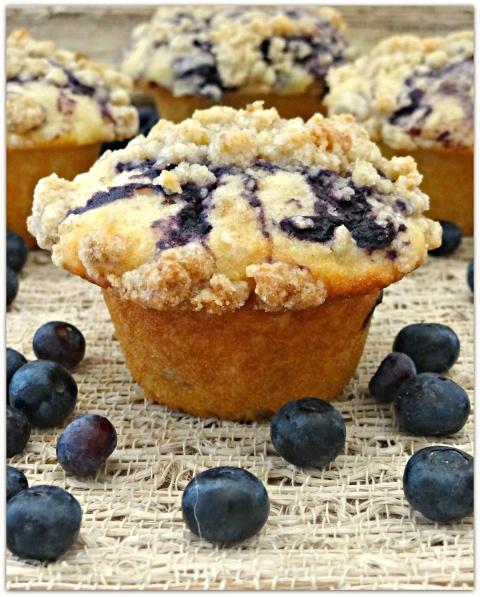 blueberry swirl streusel muffins - CI recipe.