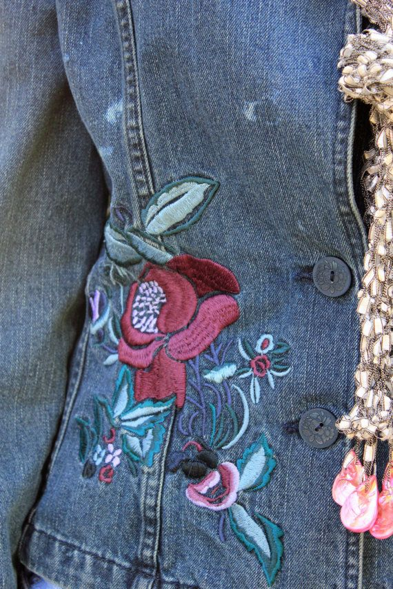 33 best embroidered jackets images on pinterest jean jackets jeans jacket has embroidered embellishments on both sleeves closer to wrist than elbow along ccuart Gallery