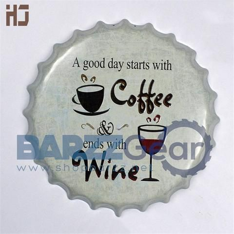 """Vintage Round Metal Sign """"Good Day Coffee & Ends with..."""" Pub Wall Decor"""